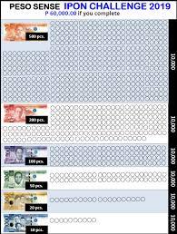 Ipon Challenge Chart Peso Sense Ipon Challenge Free Printable Template