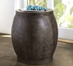 drum accent table for fancy marlow metal drum accent side table aged patina pottery barn