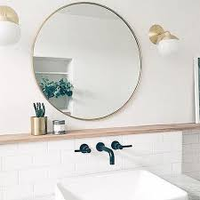 Round Mirror With Globe Light Sconces Ruddell Bathroom Addition Gorgeous Bathroom Light Sconces