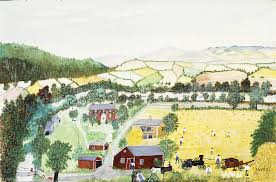bucolic landscape with sy farm buildings rolling hills and small simply rendered figures grandma moses