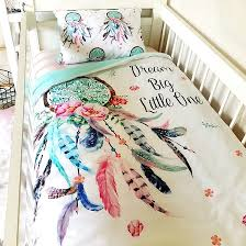 Dream Catcher Crib Bedding Dream Catcher Cot Quilt with Quote Pink and Aqua Shop Poppy Cotton 32