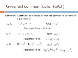 factor form definition factoring gcfs differences of squares perfect squares and cubes