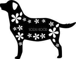 白黒イラスト無料花と犬シルエット82810 素材good