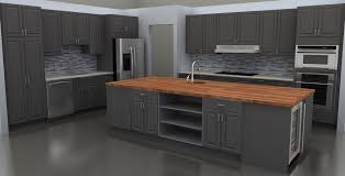 gray butcher block island with storage and sink