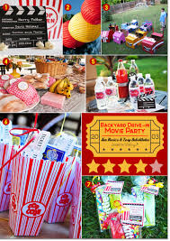 Backyard movie party ideas with fun props, popcorn, candy, and picnic food.