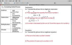 worksheet translate algebraic expressions translating verbal phrases you
