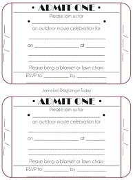 Movie Ticket Invitation Template Invite Printable Stub Party