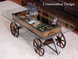 ... Coffee Table, Fascinating Clear Rectangle Industrial Glass Wagon Wheel  Coffee Table Design To Fill Living ...
