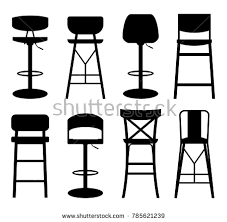 back of beach chair silhouette. Silhouettes Of Bar Stools. Stools Isolated On White Background . Back Beach Chair Silhouette