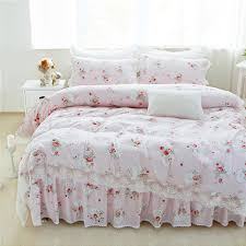 100 cotton lace edge girls bedding set