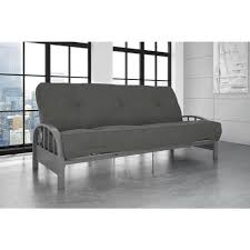 dhp aiden full size futon frame in silver