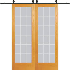 clear 18 lite v groove unfinished pine double barn door with sliding door hardware kit
