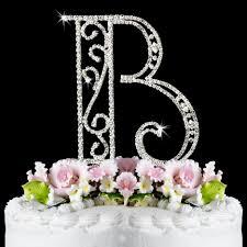 Romanesque Swarovski Crystal Wedding Cake Topper Letter B