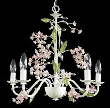 bethel international rt77 5 light white frame pink flowers ceiling fixture