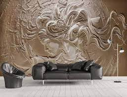 3D Embossed Cement Female Wallpaper ...