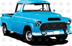 Old american blue pick-up truck Vector Image of Transportation ...