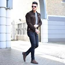 Men's suede shoes are not only versatile but also available in different designs and colors. Dark Brown Suede Bomber Jacket With Dark Brown Suede Chelsea Boots Outfits For Men 4 Ideas Outfits Lookastic