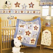 exquisite picture of sport theme boy baby nursery room decoration using red light brown baby bed valance including sport football puppy dog baby bedding