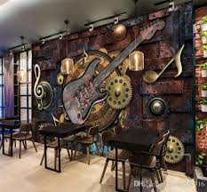 custom mural wallpaper wall covering retro metal gears al notes guitar bar ktv background picture decoration wall painting canada 2019 from fumei150716