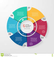 6 Piece Pie Chart Template Vector Circle Infographic Template For Graphs Charts