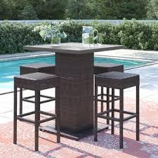 Outdoor furniture set Metal Stratford Piece Bar Height Dining Set Wayfair Patio Furniture Youll Love Wayfair