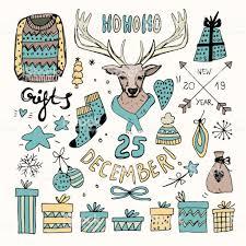 Weihnachten Clipart Doodle Clip Art Set Bleistift Zeichnung