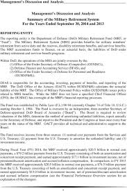 Military Reserve Retirement Pay Chart 2013 Fiscal Year Military Retirement Fund Audited Financial