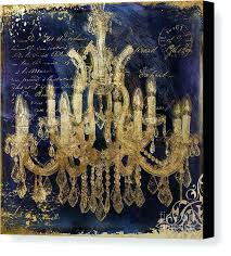 chandeliers chandelier wall art modern beautiful gold and blue canvas print by metal
