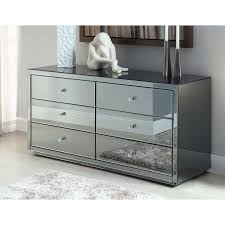 smoked mirrored furniture. VEGAS SMOKE Mirrored Dressing Table Or Low Chest 6 Drawers - Mirror Furniture Smoked O