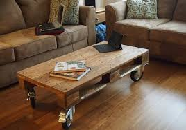 simple wooden pallet coffee table on wheels