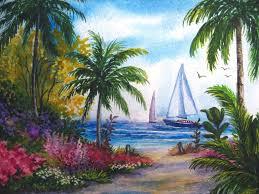 watercolor painting florida ocean sailboat boat yacht beach palm tree nature 5x7