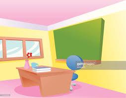 classroom table vector. a cartoon classroom with teachers desk : vector art table