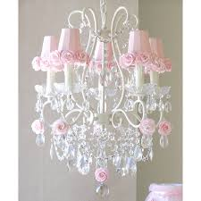 5 light chandelier with pink rose shades