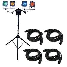 american dj ls70a portable lighting system 4x par 38 led lights 1x lts 6 1x t20f with 4 dmx