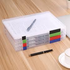 desk office file document paper. Practical A4 Transparent File Storage Box Clear Plastic Document Cases Desk Paper Organizers Office E