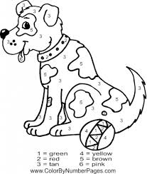 Coloring Page : Stunning Dog Color By Number Coloring Page Dog ...