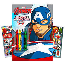 Captain america with the shield. Marvel Avengers Coloring Book Super Set With Crayons 3 Jumbo Books Over 260 Pages Total Featuring Captain America Thor Hulk Iron Man And More Arts Crafts Toys Games
