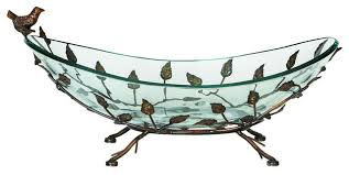 urban designs foliage large glass bowl center piece with metal stand traditional home decor by urban designs casa cortes
