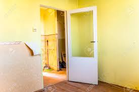 retro home renovation interior door and old walls stock photo 87846481