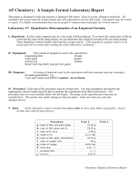 How To Write A Formal Lab Report For Chemistry Ap Chemistry A Sample Formal Laboratory Report