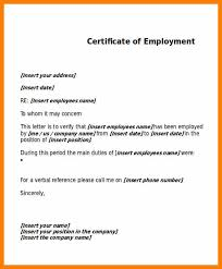 9 Certificate Of Employment Letter Sample Weekly Template