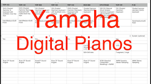Yamaha Digital Piano Models Comparison Chart Of Features