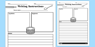 Writing Instructions Template Writing Instructions Recipe Writing Instructions Recipe