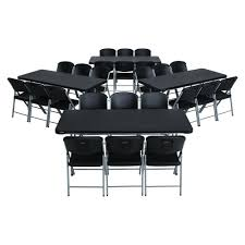 lifetime 28 piece black folding table and chair set