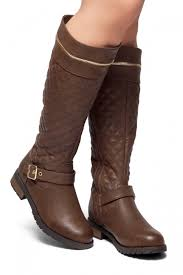 Street Edge-Quilted, Zipper and Buckle Trim Riding Knee High Boots ... & HerStyle Street Edge-Quilted, Zipper and Buckle Trim Riding Knee High Boots  (Brown) Adamdwight.com