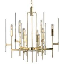 hudson valley bari aged brass 12 light chandelier with clear glass