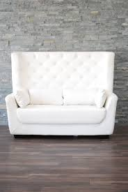 white leather high back tufted love seat  platinum event rentals