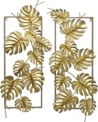 three hands gold leaves metal wall art set of 2 on leaf wall art set with here s a great price on three hands gold leaves metal wall art set