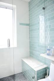 blue glass subway shower tiles with gray mosaic shower floor view full size