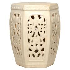 hexagon pierced ceramic garden stool champagne antique white glaze